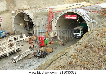 PILSEN / CZECH REPUBLIC - DECEMBER 10, 2017: Tunnel boring machine at railroad construction site. Building of new high speed track to Germany.