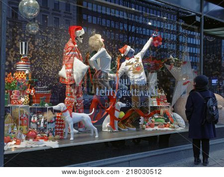 HELSINKI, FINLAND - DECEMBER 9, 2017: Christmas show window of Stockmann department store. This store is the largest department store in the Nordic countries