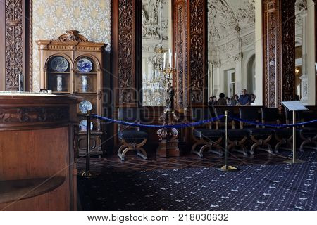 ST. PETERSBURG, RUSSIA - AUGUST 30, 2017: People in Oak dining room in Yusupov palace. The palace is acclaimed as the Encyclopedia of St. Petersburg aristocratic interior
