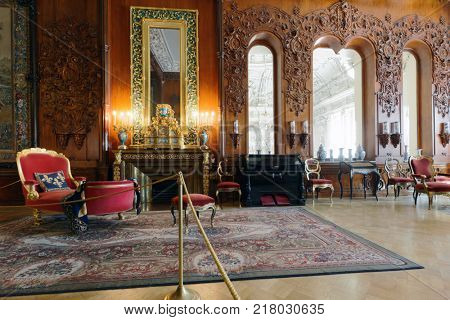 ST. PETERSBURG, RUSSIA - AUGUST 30, 2017: Interior of musical drawing room in Yusupov palace. The palace is acclaimed as the Encyclopedia of St. Petersburg aristocratic interior
