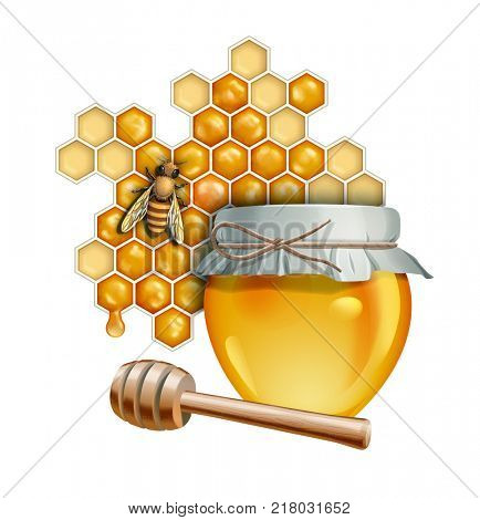 Honey themed composition including a glass jar full of honey and a bee. Digital illustration, clipping path included
