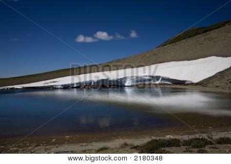 Frozen Lake, Sunrise, Mount Rainier, Snow In Summer