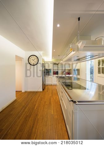Modern beautiful kitchen and parquet in design house