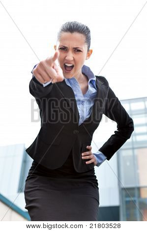 Angry Businesswoman Outdoor