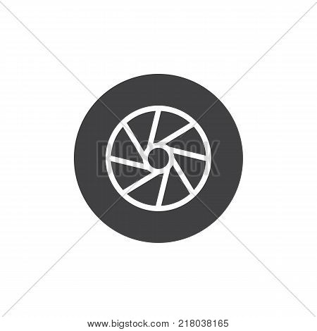 Camera photo lens shutter icon vector, filled flat sign, solid pictogram isolated on white. Symbol, logo illustration.