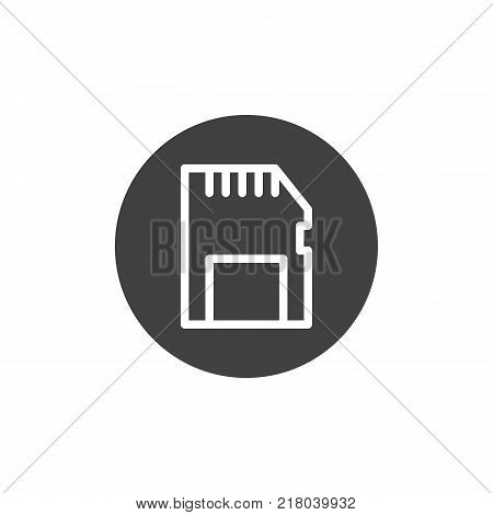 Memory card icon vector, filled flat sign, solid pictogram isolated on white. Sd card symbol, logo illustration.