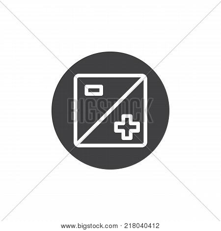 Exposure settings plus and minus icon vector, filled flat sign, solid pictogram isolated on white. Camera zoom mode symbol, logo illustration.