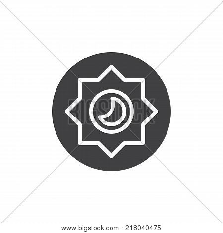 Night mode brightness mode icon vector, filled flat sign, solid pictogram isolated on white. Photo camera manual settings symbol, logo illustration.