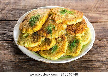 Zucchini Pancakes On Plate