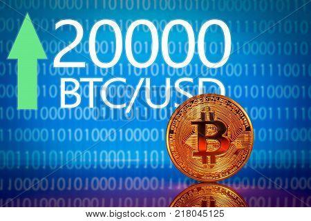Bitcoin. Market bitcoin price record - twenty thousand 20000 US dollars.