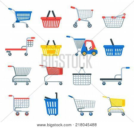 Shopping cart vector shop pushcart trolley shopper or carter with empty basket and bag buy in store illustration isolated on white background.