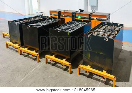 recharging electrical for forklift battery charger. Industrial concept