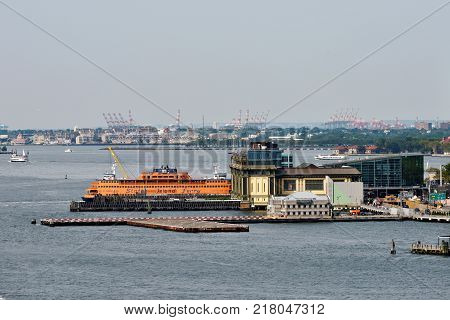 NEW YORK CITY - AUG. 27: Staten Island Ferry on August 27 2017 in New York City NY. Staten Island Ferry is a passenger ferry service operated by New York City Department of Transportation