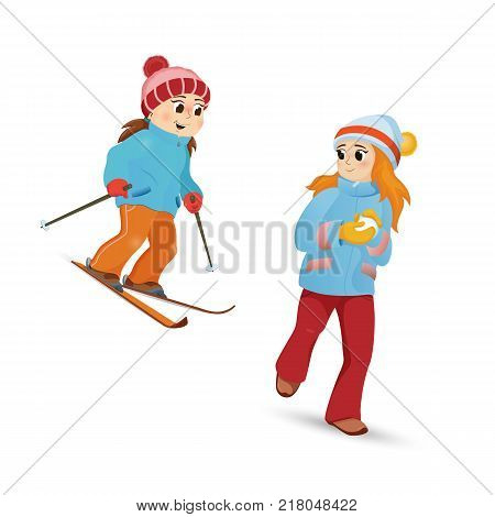 Two teenage girls skiing and playing snowballs, winter sport activity, cartoon vector illustration isolated on white background. Happy girl friends ski and make snowball, winter vacation activity