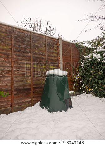 Snow On Green Plastic Box Bin Outside Recycling