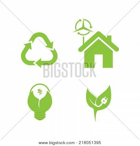 Bio ecology vector. Set includes- recycle icon, green house, leafs, tools, plug, eco bulb icons. Modern minimalistic flat design. Vector green icon.