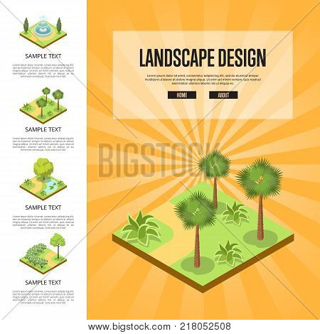 Natural parkland landscape design isometric infographics. Public park zone decoration, fields with decorative plants. Green alley with grass, palm trees and bushes, park fountain vector illustration.