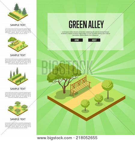 Natural parkland landscape with green alley isometric infographics. Public park zone decoration, fields with decorative plants. Lawns with grass, trees, bushes and wooden bench vector illustration.