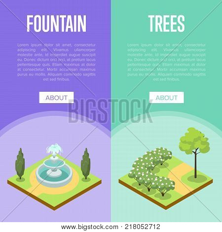 Park landscape design isometric posters. Green alley 3d model with grass, bushes, trees and fountain. Public parkland zone with decorative plants, outdoor natural area recreation vector illustration.