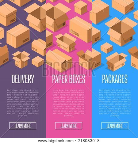 Delivery service advertising template with paper packing boxes. Postal banners with empty opened and closed cardboard boxes vector illustration. Delivery tare, goods package, shipping paper containers