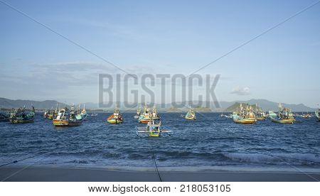 INDONESIA:Traditional fisherman boat at offshore of Tanjung Papuma Beach, Jember,Surabaya,East Java.