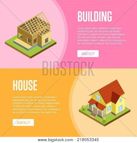 House framework, construction of walls, siding and roof installation isometric vector illustration. Architectural engineering, construction stages of countryside house, building and development set