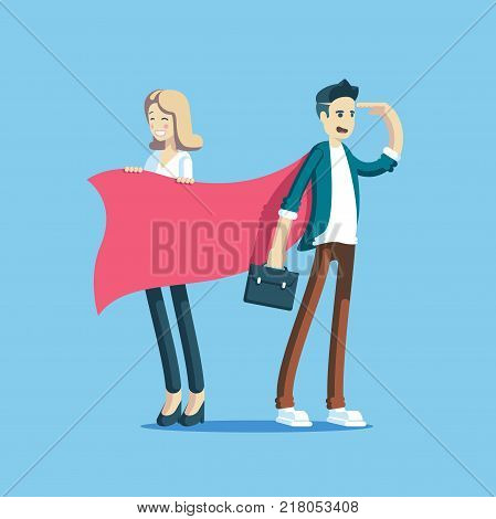 Businessman superhero standing and looking forward and businesswoman laughs and helps the cape to blow. Office workers having fun. Funny and cute cartoon business characters. Vector illustration