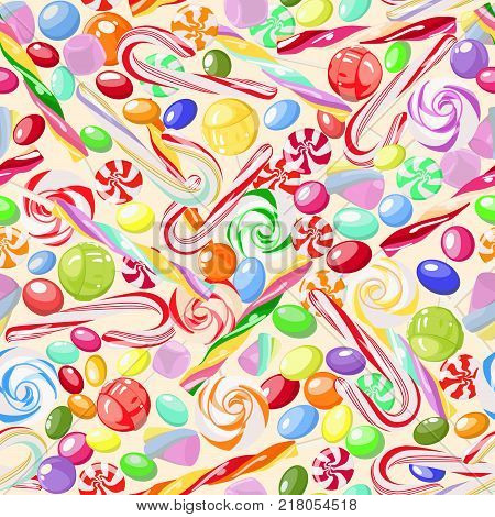 Vector pattern of bright, colorful, sweet candy, marshmallow, caramel, lollipops on light background. Sweets. For children's rooms, cafes, covers, wallpapers, textile products, wrapping paper.