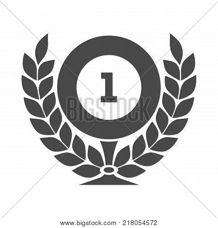 First place cup wuth laurel wreath isolated on white background. Champion award label, winner winner competition sign, trophy prize vector illustration