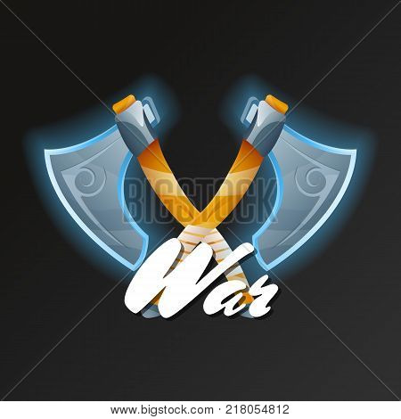 War game element with crossed fantasy axes. Shiny medieval weapon for computer game design. Confrontation versus sign, fight opposition concept, epic battle competition vector illustration.