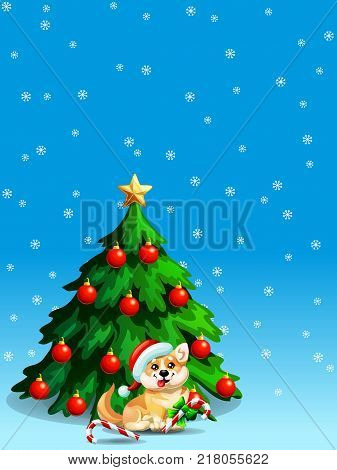 A dog of Welsh Corgi breed and a fir-tree with spheres and star and Candy cane on blue background with snowflakers. A vector illustration in cartoon style, vertical.