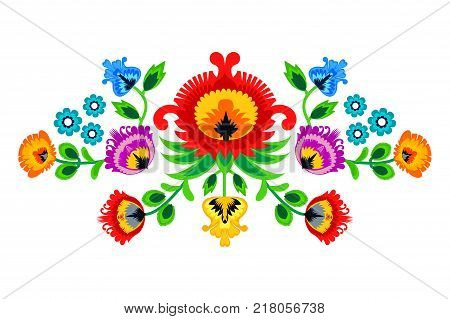 Folk embroidery ornament with flowers. Traditional authentic polish pattern decoration - wycinanka Wzory Lowickie eps 10