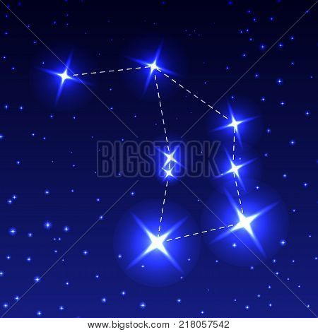 The Constellation Of The Altar in the night starry sky. Vector illustration of the concept of astronomy