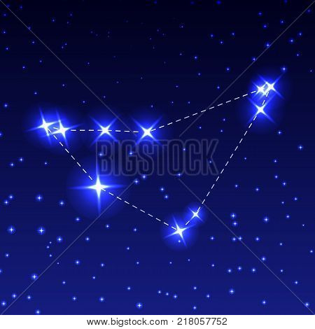 The Constellation Of Capricorn in the night starry sky. Vector illustration of the concept of astronomy