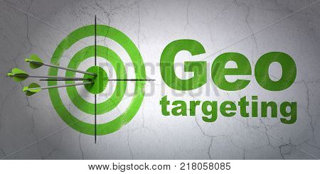 Success finance concept: arrows hitting the center of target, Green Geo Targeting on wall background, 3D rendering