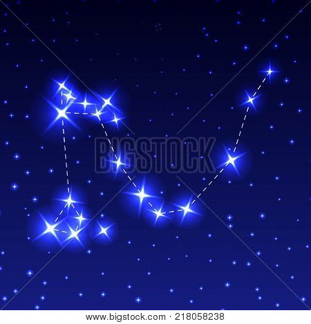 The Constellation Of The Dragon in the night starry sky. Vector illustration of the concept of astronomy