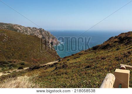 Cabo da Roca Coastline the Western Point of Europe Portugal.
