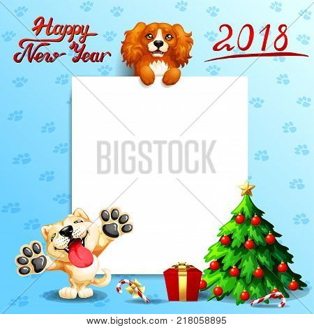 The red dog Cocker Spaniel stands with paws on a white banner or a poster and inscription of Happy New year 2018, puppy Akita Inu and fir-tree. A vector illustration in cartoon style on blue.