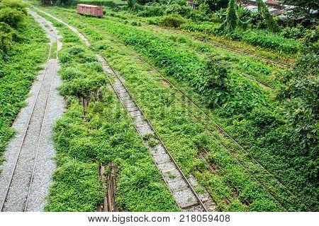 Unused Railroad in Yangon Central Railway Station Myanmar Aug-2017