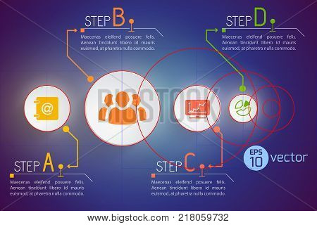 Colorful background with four business communication icons and description paragraphs with editable text on gradient background vector illustration