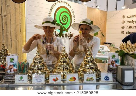 CRACOW POLAND - NOVEMBER 16 2017: Pavilion of the ice cream producer at Gastrofood - Trade Fair for Food and Drinks for Catering in Cracow. Poland