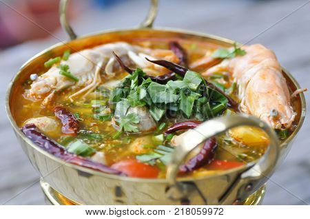 tom yum kung spicy soup or Thai spicy soup