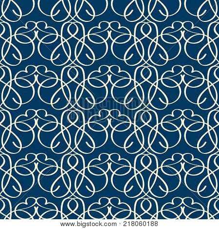 Vintage seamless pattern with fanciful linear vignette ornament on dark blue background flat vector illustration