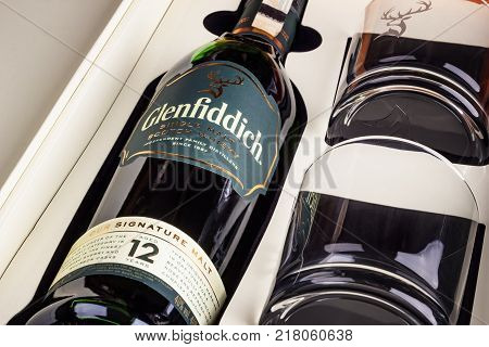 Varna Bulgaria - DECEMBER 06 2017: Glenfiddich Single Malt Scotch whisky with two glasses. luxury packaging