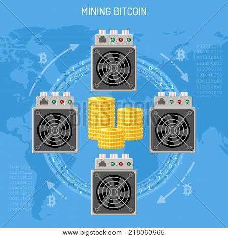 Mining crypto currency bitcoin technology concept. Asic miner computer process transactions, make blokchain and mining bitcoins. Flat style icons. Vector illustration
