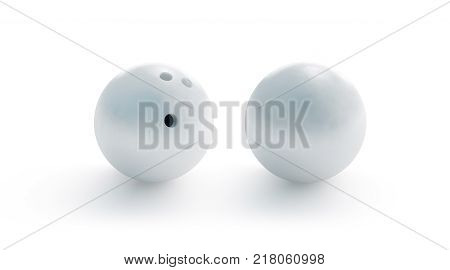 Blank white bowling ball mockup front and back side view 3d rendering. Empty bowl game sphere mock up isolated. Clear leisure sport equipment design template. Plain shiny orb with 3 holes