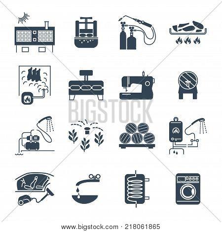 set of black icons household appliances equipment technology