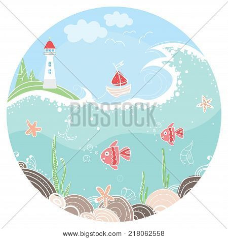 Cute illustration in circle with lighthouse, sailboat and fish on the seafloor. Colorful background for card, banner, sticker