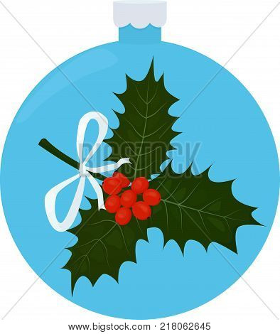 Twig of Holly or ilex with leaves and berries in blue christmas-tree ball. Vector illustration.