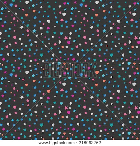 Modern Abstract Vector Confetti Background. Seamless colorful square, heart and star pattern. EPS 10 stock festive fun repeat for your design projects, textile, wrapping, wallpaper, web.